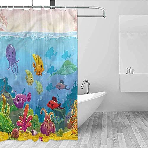 Duurzame douchegordijn Aquarium Cartoon Onderwater Landschap Metalen Bouw, Douchegordijn, W122 X H183 CM/48X72 Inch