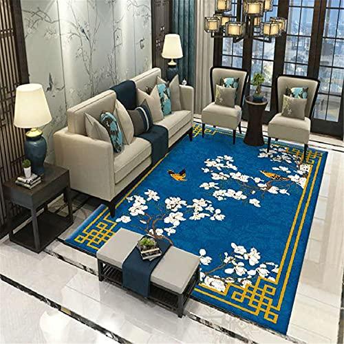 CCTYJ Patrón étnico Oriental Floral Azul y Blanco Mesa de café Antideslizante Tabla de café Mesa de café Estudio Decorativo alfombra-40x60cm Alfombra económica con diseño Moderno para el salón