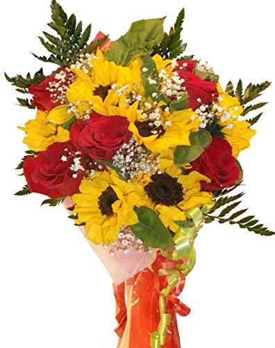 Ramo de flores naturales a domicilio de rosas y girasoles con envio y nota dedicatoria incluido en el precio