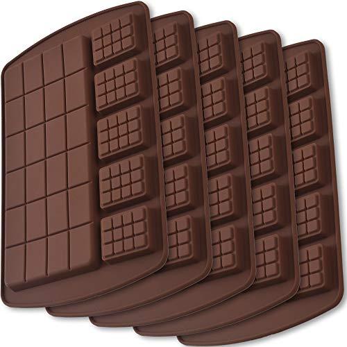 ionEgg Break Apart Moules à barres de chocolat en silicone, moules à barres protéinées et énergétiques faits maison, paquets de 5