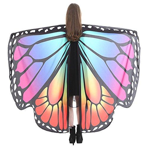 VEMOW Heißer Verkauf Damen Cosplay Party 168 * 135 CM Schmetterlingsflügel Schal Schals Damen Nymphe Pixie Poncho karneval Kostüm Zubehör(X2-Blau 2, 168 * 135CM)