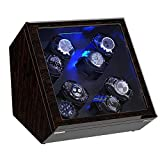 Watch Winder, [Newly Upgraded] Piano Finish Carbon Fiber Exterior and Soft Flexible Watch Pillows Automatic Watch Winder Box, 8 Winding Spaces with Built-in Illumination (Pine Bark Pattern)