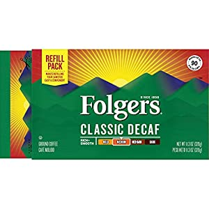 Folgers Classic Decaf Medium Roast Coffee Brick, (Pack of 12)