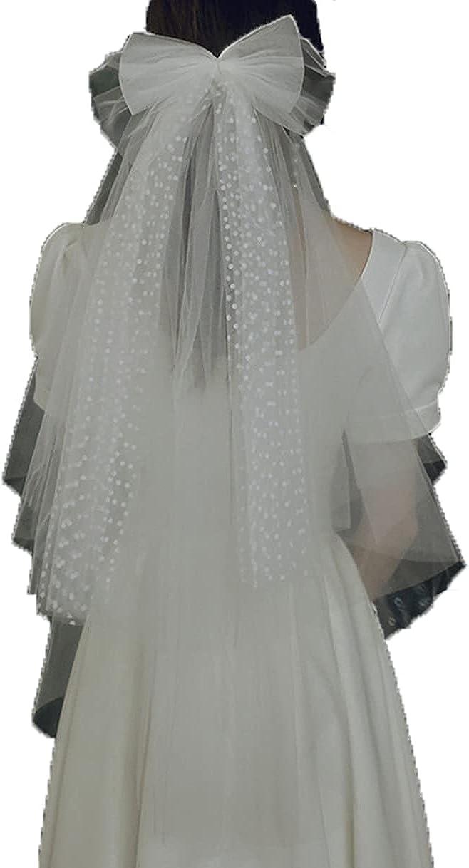 1T Bridal Veil Short Elbow Length Veil Lace Veil Tulle bow Veil Women's Wedding Veil