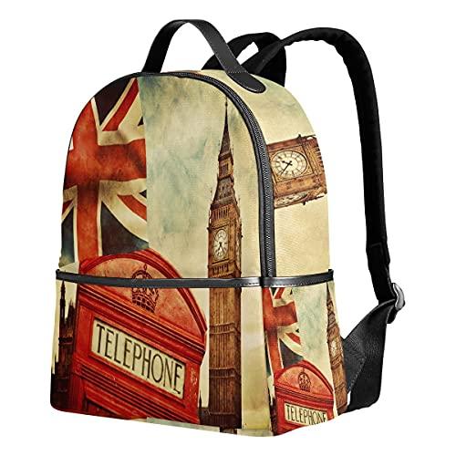 Mochila de poliéster retro de Londres, Union Jack Big Ben
