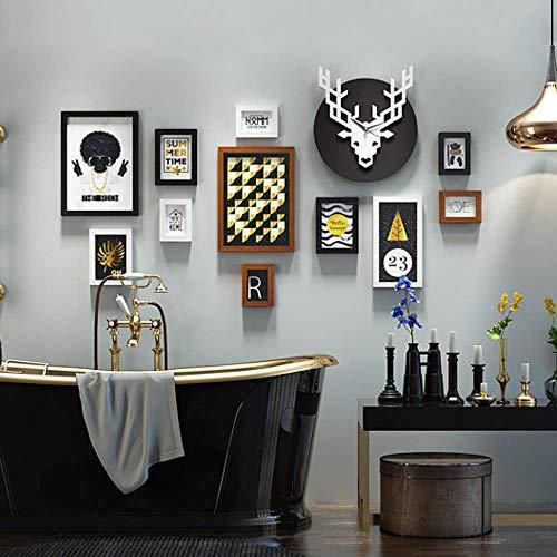 HEWEI Collage fotolijstje set van 11, wandopknoping kunst fotolijstje met herten wandklok, installatie tekeningen, foto en accessoires, muur 156x89 cm, blackwalnutwhite