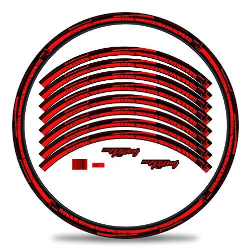 Finest Folia Set di 16 adesivi per cerchioni della bicicletta, a strisce, design a strisce, set completo per bici da strada, mountain bike, mountain bike, bici da corsa (rosso neon, lucido)