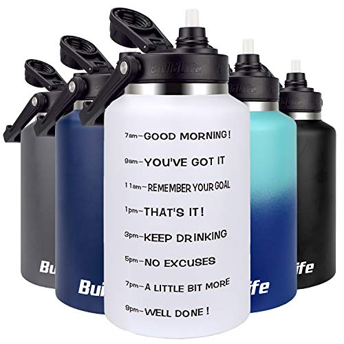 BuildLife Stainless Steel Water Bottle - 64 OZ Half Gallon Motivational Time Marker Wide Mouth with Straw Lid Leak Proof Reusable Travel Insulated Thermos Jug 03White 64 OZ
