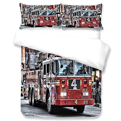 KHDJ Kinder-Bettwäsche, Bettgarnitur Polizei und Feuerwehr Flanell blau/rot Größe - hautsymphatisch, mit praktischem Reißverschluss Bettwäsche- Set, Mehrfarbig,C,SuperKing