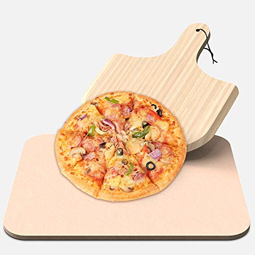 RegeMoudal Pizza Stone Baking Stone for Ovens and Grills,Wooden Pizza Peel Paddle, Durable and Safe, Can Make Pizza, Pies, Bread and Biscuits,15'×12'×0.39', 6.6Lbs