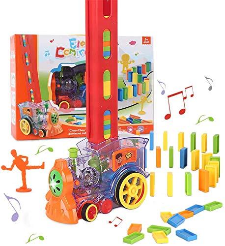 Juego de bloques de dominó, juguete de tren de dominó con 80 piezas de bloques de dominó, bloques de juguete de construcción y apilamiento con luz y sonido para juguetes