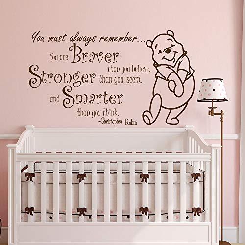 Sticker mural Devis de Winnie l'Ourson pour devis de chambre d'enfants Braver Stronger Smarter Decor Nursery Baby Bedroom