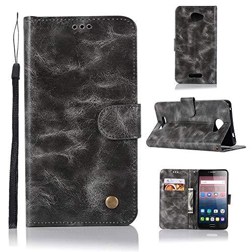JARNING Kompatibel mit Alcatel One Touch Pop 4S Hülle SchutzHülle Prämie PU Leder Flip Case Tasche Stoßsichere LederHülle mit Magnetverschluss Kartenfach -Grau