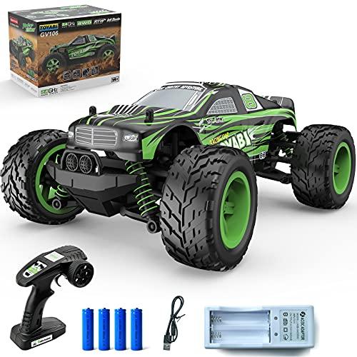 Ferngesteuertes Auto, TOYABI 2.4GHz RC CAR Off-Road mit 40km/h 4WD Monstertruck Buggy mit 2 Wiederaufladbaren Batterie, Crawler Spielzeug Rennwagen für Kinder Erwachsene