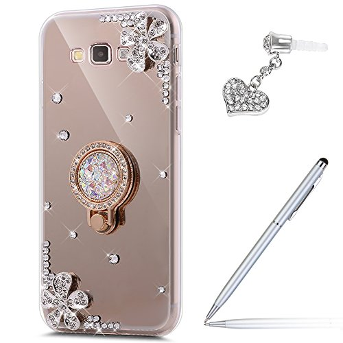 Galaxy Grand Prime Case,Galaxy Grand Prime Mirror Case,Inlaid diamond Flowers Rhinestone Glitter Bling Mirror Back TPU Case & Ring Stand Holder +Touch Pen Dust Plug for Galaxy Grand Prime,Gold