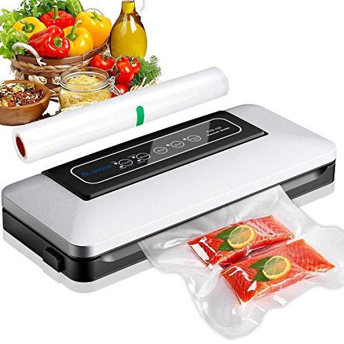 Machine Sous Vide Automatique,Aobosi Appareil de mise sous vide Machine de Scellage pour Aliments,Viandes,Légumes, Fruits(avec 1 rouleau de film sous vide et tuyau pour conteneur de nourriture)