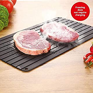 JNNELSN Fast Defrosting Tray for Frozen Foods, Rapid Thawing Plate Large Board for Frozen Meat, Kitchen Aviation Aluminum Defrosting Mat Pad, Thawing Frozen Foods in Short Time - Black