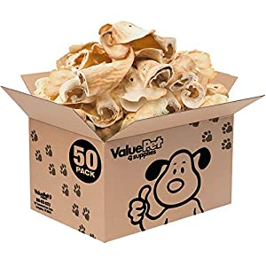 ValueBull Premium Cow Ears, 50 Count – All Natural Dog Treats, 100% Angus Beef, Single Ingredient Rawhide Alternative, Cleans Teeth & Gums