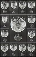 IncisoArt ハンドエッチング イタリアンクリスタル ゴブレット サンドブラスト (砂彫り) ハンドメイド ワイン ウォーターグラス 刻印 犬 足 (4、340ミリ (11.5オンス) ホワイトワイン)