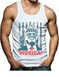 Donald Trump 2020 Tank Murica 4th of July Patriotic American Party USA Singlet Large White