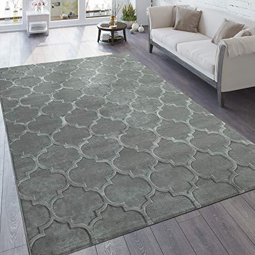 Paco Home Designer Teppich Wohnzimmer 3D Effekt Marokkanisches Muster In Grau, Grösse:80x150 cm