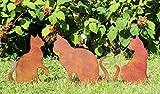 LB H&F 3er Set Gartendeko Gartenstecker Katze zum Stecken Rost Deko Design XL - PO