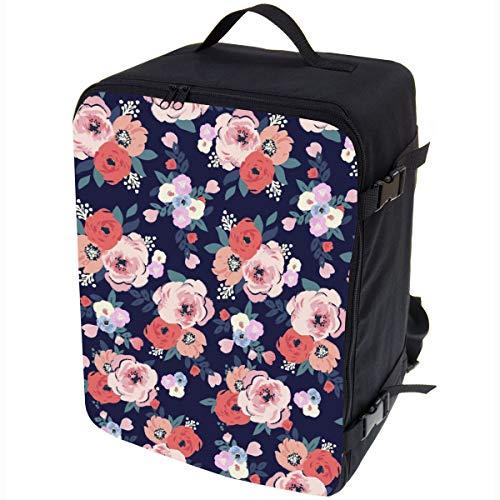 Multifunktions Handgepäck Rucksack gepolstert Flugzeugtasche Handtasche Reisetasche Rucksack gepolstertkoffer für Flugzeug Größe 40x30x20cm Blumen [102]