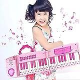 Hanmun 1Kinder Electronic Musical Karaoke gefaltet Multifunktions 37Schlüssel Keyboard Instrument für 3+ Mädchen mit echten Arbeiten Mikrofon und buntes Licht MP3Record Sing Pink -
