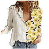 Genetic Blusas para mujer, sueltas de manga larga, botonera, camisas casuales para adolescentes, amarillo, M