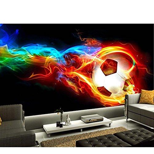 Yosot Benutzerdefinierte Moderne 3D Tapeten Wandbild Für Die Lebensbedingungen Der Sofa Schlafzimmer Kinderzimmer Hintergrundbild Fußball Auf Feuer Wandbild-200Cmx140Cm