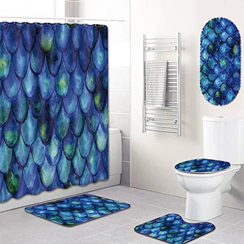 PPWYY 5 stuks visschubben bedrukt douchegordijn badkamer douchegordijn tapijten badkamer vloermat toiletafdekking 12 haken