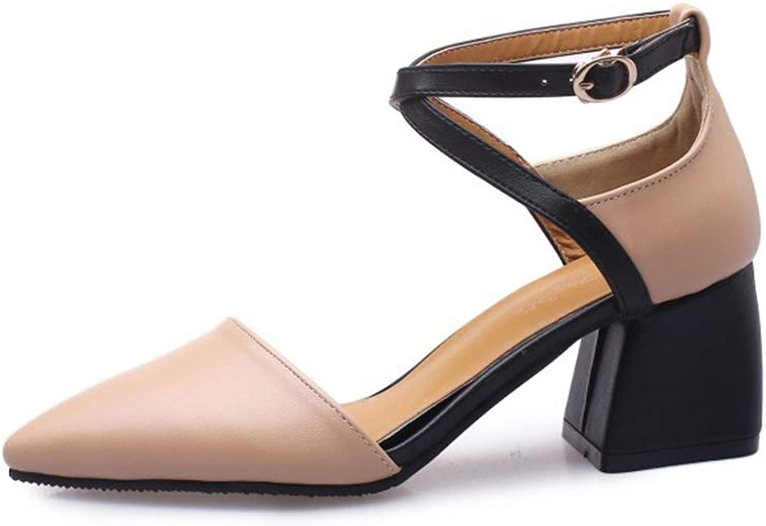 Sandals for Women Artificial PU Thick with Pointed high Heels Ankle Strap with Solid color Casual Sandals