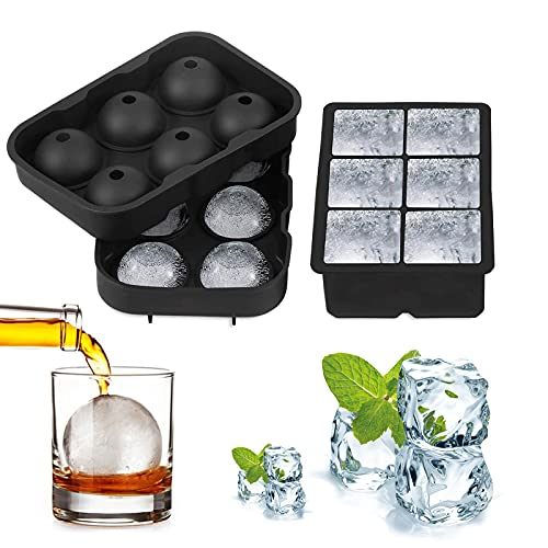 Ice Cube Trays(Set of 2),Silicone Ice Cube Tray Moulds with Non-Spill Lid ,6 Giant Ice Ball Cube Maker Best for Freezer, Baby Food, Water, Whiskey, Cocktail and Other Drink