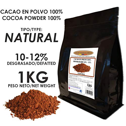 Cacao Venezuela Delta - Cacao en Polvo Puro 100% · NATURAL · Desgrasado 10-12% · 1kg