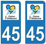 supstick 2 STICKERS AUTOCOLLANT PLAQUE IMMATRICULATION DEPT 45 region Centre-Val de Loire