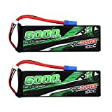 RCPOWER 11.1V 6000mAh 3S 100C Lipo Battery EC5 Plug for RC Airplane, RC Quadcopter Helicopter Battery, RC Car/Truck, RC Boat DJI Airplane (2Packs)