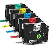 Wonfoucs - Cinta para etiquetadora compatible con Brother Ptouch TZ 12mm x 8m TZe-231 TZe-431 TZe-531 TZe-631 TZe-731 para Brother 1000 H107B H100LB E110 H100LB H200 H105, pack de 5