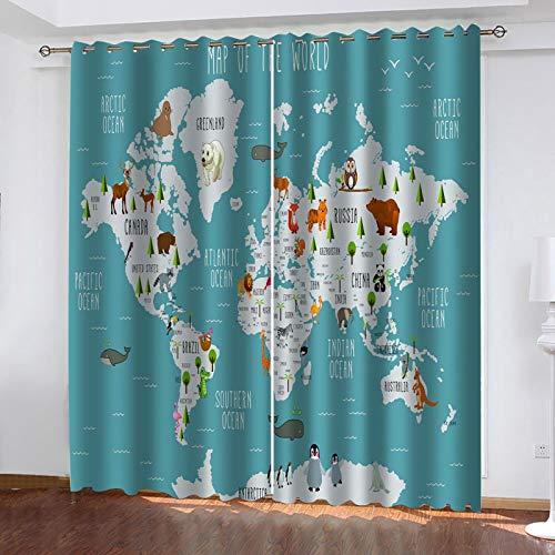 WLHRJ Cortina Opaca en Cocina el Salon dormitorios habitación Infantil 3D Impresión Digital Ojales Cortinas termica - 140x100 cm - Mapa del Mundo de Dibujos Animados