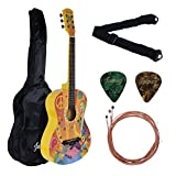 Juârez Acoustic Guitar, 38 Inch Cutaway, JRZ38CT, Hippie Funky Design, with Bag, Picks
