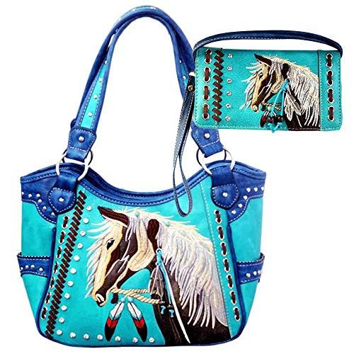 Justin West Dales Pony-Pferd, weiße Mähnen-Stickerei, Federn, versteckt, (Turquoise Tote Wallet Set), Large