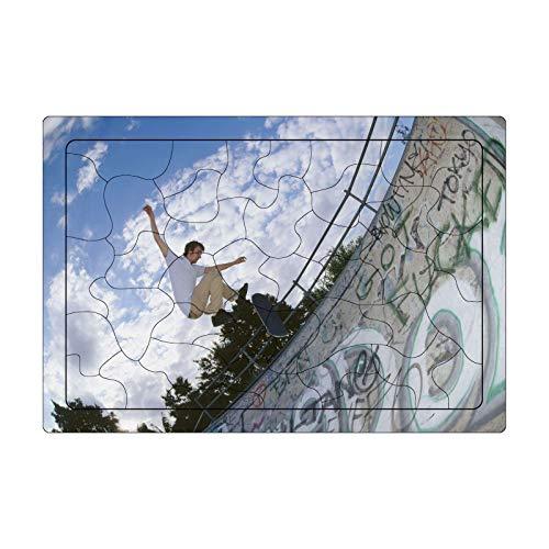 LaoSong Puzzle 42 Stück Holz Puzzle Skateboarder Bild Familiendekorationen einzigartiges Geburtstagsgeschenk for Jugendliche und Adul