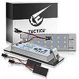 TECTICO LED Luces matrícula coche E-Mark ECE 6000K Blanco puro canbus No hay error Luz de matrícula para Astra, Zafira, Corsa, Cascada, Insignia, Meriva,Tigra, Adam, Vectra etc,2 Piezas