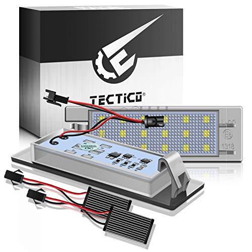 TECTICO LED Kennzeichenbeleuchtung 6000K Xenon Weiß mit E Prüfzeichen 3528-SMD Canbus Fehlerfrei Ultra Heller Nummernschildleuchten für Astra Cascada Corsa Insignia Meriva Zafira, 2 Stück