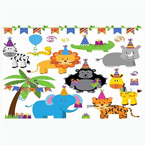 Badteppich für Badezimmer Rutschfeste Matten Charakter Safari Collection Geschenk Geburtstagsfeier Affe Themed Jungle Snake Animals Wildlife Natur Plüsch Dekor Fußmatte Rutschfeste Rückenmatte