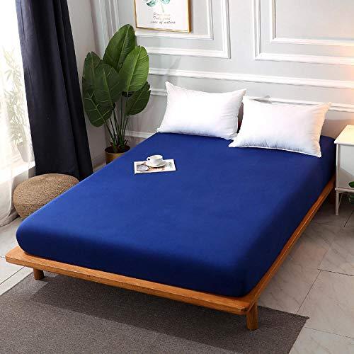 Nuoxuan Sábana Bajera Transpirable Tacto Suave,Funda Protectora Antideslizante de sábana de algodón de Color sólido para Camas Individuales y Dobles en Apartamentos de Hotel-Azul 1_El 180 * 200cm