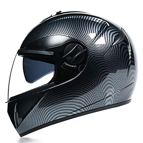 SJAPEX Casco Moto Cascos Integradas Unas Gafas de Sol Escamoteables Doble Anti Niebla Visera Buen Sellado ECE Aprobado Ligera para Adulto,Adecuado para Montar en Bicicleta. C,L=57~58cm