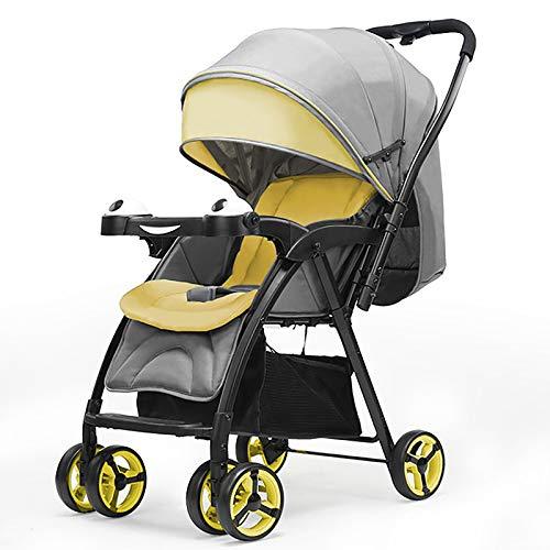 QINJIE Baby stroller two-way shock absorber baby stroller lightweight folding stroller,Yellow