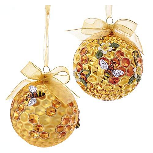 Kurt Adler Set/2 Bumble Honeycomb Bee Hive Christmas Tree Ball Ornament Decor