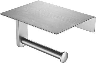 JQK Toilet Paper Holder with Shelf, Bathroom Tissue Roll Holder with Phone Shelf, 5 Inch 304 Stainless Steel Tissue Paper ...