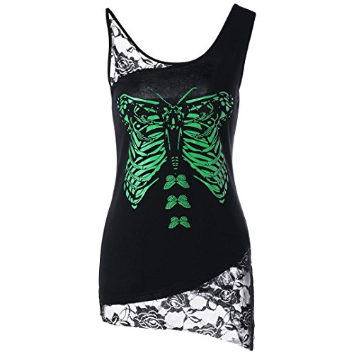 VENMO Women Sleeveless Shirt Butterfly Print Tops | Lace Patchwork Casual Blouse| Schmetterling Druck T-Shirt Kurzarm Tops | Unregelmäßige Bluse Tunikakleid | Trägerlosen Oberteile (Black, XXL)